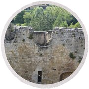 Bordeaux Castle Ruins With Vineyard Round Beach Towel