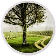 Bordeaux Vineyard Round Beach Towel