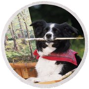 Border Collie At Painting Easel Round Beach Towel