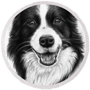 Border Collie Round Beach Towel