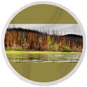 Boreal Forest At Yukon River Destroyed By Fire Round Beach Towel