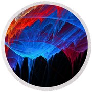 Borealis - Blue And Red Abstract Round Beach Towel