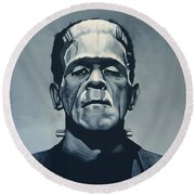 Boris Karloff As Frankenstein  Round Beach Towel