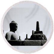 The Contemplation Of The Buddha Round Beach Towel