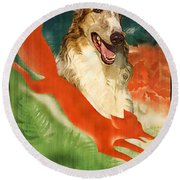Borzoi Art - Hunting In The Ussr Poster Round Beach Towel