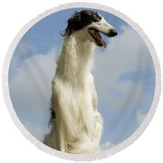 Borzoi Or Russian Wolfhound Round Beach Towel