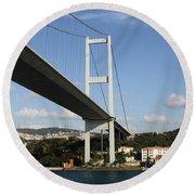 Bosphorus Bridge Istanbul Round Beach Towel