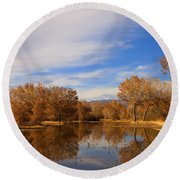 Bosque Del Apache Reflections Round Beach Towel