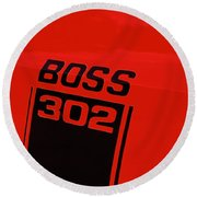 Boss 302 Emblem On A Car Round Beach Towel