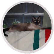 Boss Cat Round Beach Towel