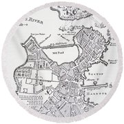 Boston And Bunker Hill 1781 Round Beach Towel by American School