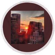 Boston At Dawn Round Beach Towel