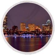 Boston Back Bay Skyline At Night Color Panorama Round Beach Towel
