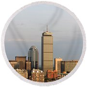 Boston Back Bay With The Prudential Tower Round Beach Towel