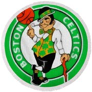 Boston Celtics Canvas Round Beach Towel by Dan Sproul