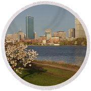 Boston Charles River On A Spring Day Round Beach Towel