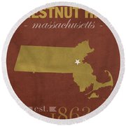 Boston College Eagles Chestnut Hill Massachusetts College Town State Map Poster Series No 020 Round Beach Towel