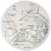 Boston-concord Map, 1775 Round Beach Towel