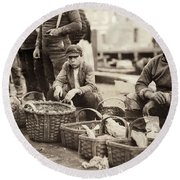 Boston Fish Market, 1909 Round Beach Towel