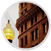 Boston Gas Light Round Beach Towel