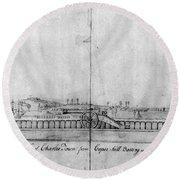 Boston Harbor, 1778 Round Beach Towel