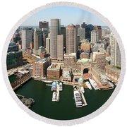 Boston Harbor And Boston Skyline Round Beach Towel