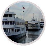 Boston Harbor Cruise Three In A Row Round Beach Towel