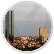 Boston John Hancock Tower Skyline Round Beach Towel