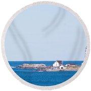 Boston Lighthouse Round Beach Towel