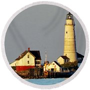 Boston Light Round Beach Towel