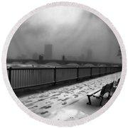 Boston Longfellow Bridge-snow Cityscape V3 Round Beach Towel