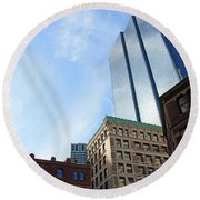 Boston Ma Architecture 2 Round Beach Towel