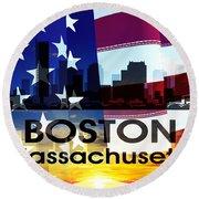 Boston Ma Patriotic Large Cityscape Round Beach Towel