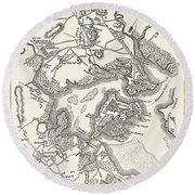 Boston: Map, 1775-1776 Round Beach Towel