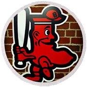 Boston Red Sox 1950s Logo Round Beach Towel by Stephen Stookey