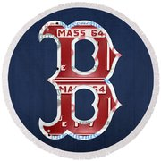 Boston Red Sox Logo Letter B Baseball Team Vintage License Plate Art Round Beach Towel by Design Turnpike