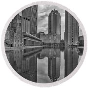 Boston Reflections Bw Round Beach Towel