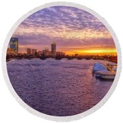 Boston Sky Round Beach Towel by Joann Vitali