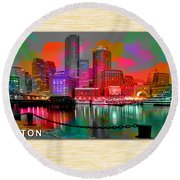Boston Skyline Painting Round Beach Towel
