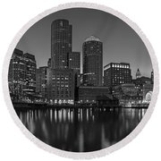 Boston Skyline Seaport District Bw Round Beach Towel