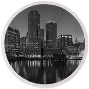 Boston Skyline Seaport District Bw Round Beach Towel