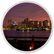 Boston Skyline Sunset Round Beach Towel