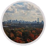 Boston Skyline View From Mt Auburn Cemetery Round Beach Towel