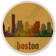 Boston Skyline Watercolor On Parchment Round Beach Towel