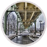 Boston Streetcar Overpass-cambridge V2 Round Beach Towel