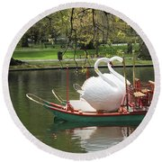 Boston Swan Boats Round Beach Towel