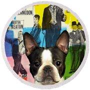 Boston Terrier Art - 30 Years Of Fun Movie Poster Round Beach Towel
