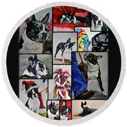 Boston Terrier Watercolor Collage Round Beach Towel
