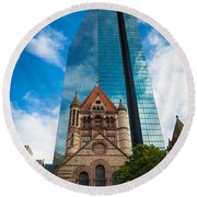 Boston Trinity Church Round Beach Towel