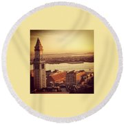 Boston's Custom House Round Beach Towel